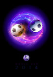 Soccer balls circle poster. Soccer balls in flames and lights against black background. Vector poster design template Stock Photo