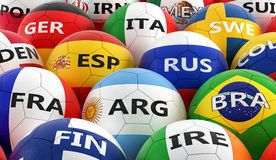 Soccer balls colored in different national flag colors Stock Images