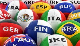 Soccer balls colored in different national flag colors Royalty Free Stock Photos