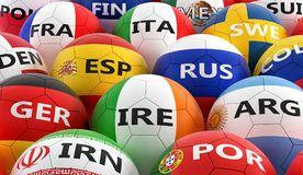 Soccer balls colored in different national flag colors Royalty Free Stock Photo