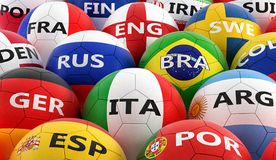 Soccer balls colored in different national flag colors Royalty Free Stock Photography