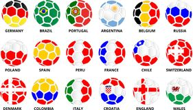 Soccer balls in colors of national flags on white. vector illustration