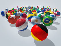 Soccer balls concept. Soccer balls with flags of national teams. Image contain clipping path Stock Photos