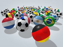 Soccer balls concept. Soccer balls with flags of national teams. Image contain clipping path Royalty Free Stock Photography