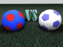 Soccer balls for the Derby. On a black background Royalty Free Stock Photography