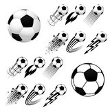 Soccer balls with different fly animations. Football. Soccer. Soccer balls with different fly animations, like fire or stars, isolated on white background Royalty Free Stock Images