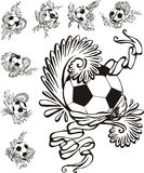 Soccer balls with embellishments Royalty Free Stock Image