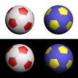 Soccer balls Euro 2012 Poland Ukraine. Championship football - UEFA Euro 2012 soccer balls in national Poland and Ukraine colors on white and black background Stock Photography