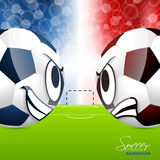 Soccer balls with field in background. Soccer balls head to head design with field in background Stock Photography