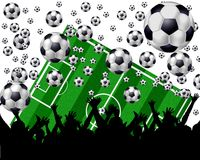 Soccer Balls, Field and Fans. A background image of soccer balls, a field and the fans Royalty Free Stock Photo