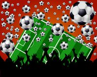 Soccer Balls, Field and Fans on red background. A red background image of soccer balls, a field and the fans Royalty Free Stock Photo