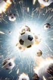 Soccer balls with fire sparks in action. Explosion soccer balls with fire sparks in action stock image