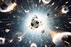 Soccer balls with fire sparks in action. Explosion soccer balls with fire sparks in action royalty free stock photos