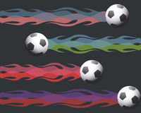 Soccer balls on fire Royalty Free Stock Photo