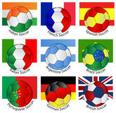Soccer balls of with flags stock illustration