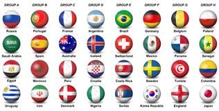 Soccer balls flags countries final tournament 2018 football wor. Soccer balls concerning flags of countries participating to the final tournament of 2018 vector illustration