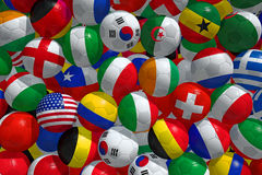 Soccer balls. With flags of national teams Stock Image