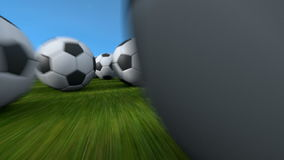 Soccer balls flight stock footage