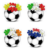 Soccer balls with floral national flags Royalty Free Stock Photos