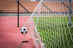 Soccer balls in the goal Stock Images