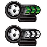 Soccer balls on green and white arrow nameplates Royalty Free Stock Photo