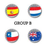 Soccer balls with group B teams flags, Football Brazil 2014. Stock Photography