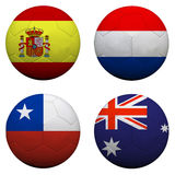 Soccer balls with group B teams. Flags, Football Brazil 2014. isolated on white Stock Image