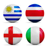 Soccer balls with group D teams flags, Football Brazil 2014. Four soccer balls with group D teams flags, Football Brazil 2014 Royalty Free Stock Image