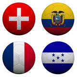 Soccer balls with group E teams. Flags, Football Brazil 2014. isolated on white Stock Photography