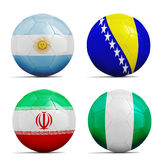 Soccer balls with group F teams flags, Football Brazil 2014. Four soccer balls with group F teams flags, Football Brazil 2014 Stock Photography