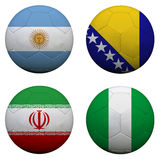 Soccer balls with group F teams. Flags, Football Brazil 2014. isolated on white Royalty Free Stock Photography