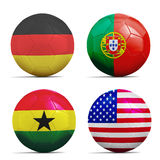 Soccer balls with group G teams flags, Football Brazil 2014. Royalty Free Stock Photo