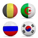 Soccer balls with group H teams flags, Football Brazil 2014. Royalty Free Stock Photography