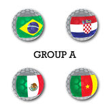 Soccer balls with group A teams flags, Football Brazil 2014. Group A teams flags, Football Brazil 2014 Royalty Free Stock Image