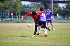Soccer balls are hurting from socker in thailand. Association football, more commonly known as football or soccer, is a sport played between two teams of eleven royalty free stock photo