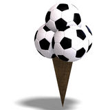 Soccer balls in an ice cream cone Stock Images
