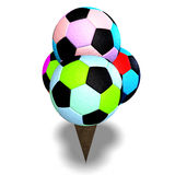 Soccer balls in an ice cream cone Royalty Free Stock Image