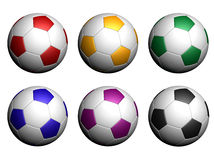 Soccer balls isolated on white background. Red, yellow, green, blue, violet and black soccer balls on white background Stock Image
