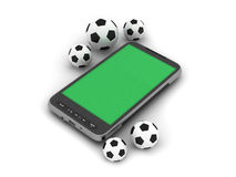 Soccer balls and mobile phone. On white background Stock Photography