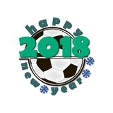 Soccer balls and New Year 2018. Soccer ball and Happy New Year 2018.  Vector illustration Royalty Free Stock Photography