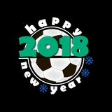 Soccer balls and New Year 2018. Soccer ball and Happy New Year 2018.  Vector illustration Stock Photos