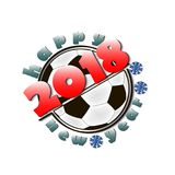 Soccer balls and New Year 2018. Soccer ball and Happy New Year 2018.  Vector illustration Royalty Free Stock Photo