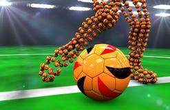 Soccer balls at night. Kick the soccer ball at night Royalty Free Stock Images