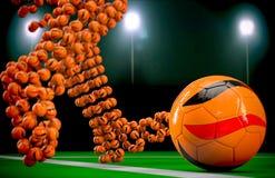 Soccer balls at night 2. Kick the soccer ball at night Royalty Free Stock Photo