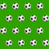 Soccer balls over green field. Seamless background. Vector illustration Royalty Free Stock Photos