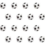 Soccer balls over green field. Seamless background. Vector illustration Stock Photos