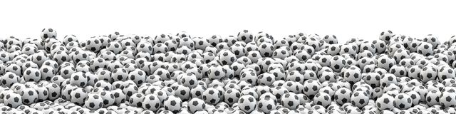 Soccer balls panorama. 3D illustration of panoramic view of hundreds of soccer balls Stock Photo
