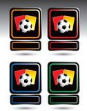 Soccer balls and penalty cards over nameplates Stock Photography