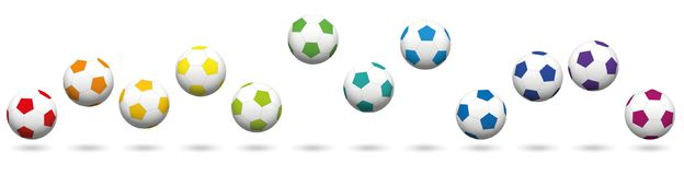 Soccer Balls Rainbow Colored Football Set. Soccer balls loosely arranged. Rainbow colored jumping soccer ball set, twelve different colors. Isolated vector royalty free illustration