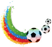 Soccer balls and rainbow trail Stock Images